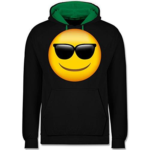 Comic Shirts - Emoji Sonnenbrille - Kontrast Hoodie Schwarz/Grün