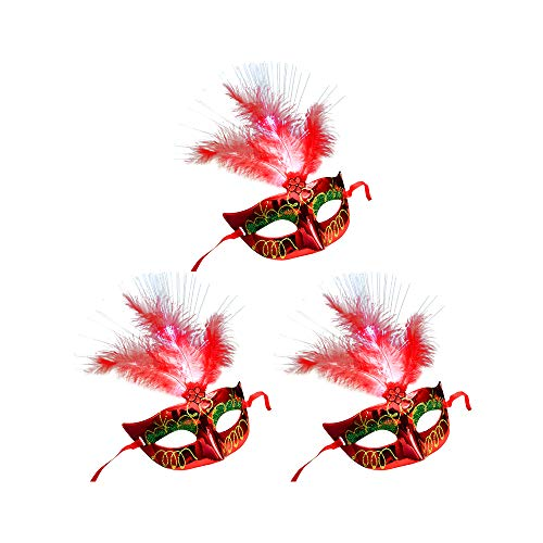 Kostüm Masquerade Theater - Wankd 3 Stück Masquerade Mask, Halloween Maske LED Light Feather Cosplay Maske Purge Mask für Festival Cosplay Halloween Kostüm (Rot)