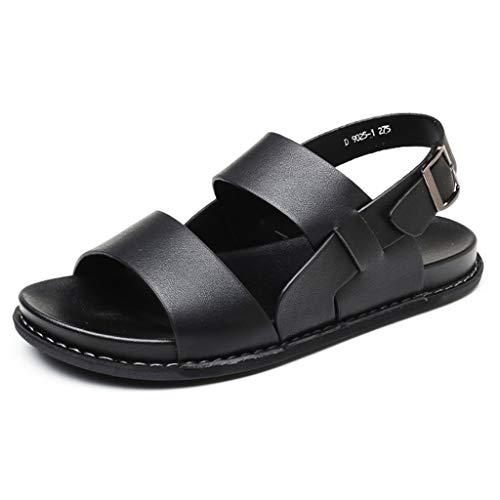 Herren Echtleder Open-Toed Slipper Slip On Athletic Sandalen Wandern Wandern Einstellbare Strandschuhe Größe 44-51,Black,49 Athletic-open-toe-sandalen