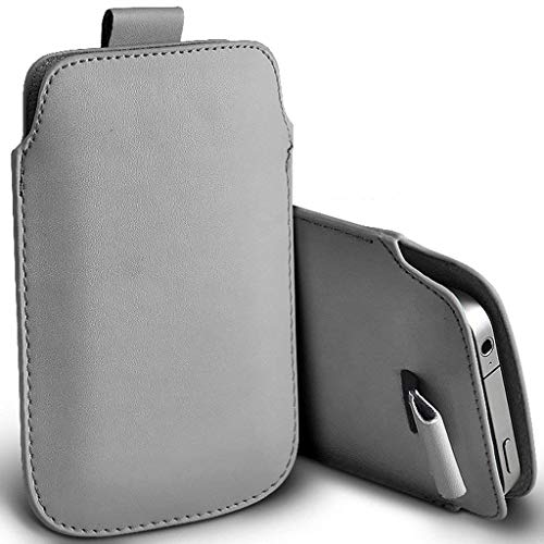 Price comparison product image I-Sonite (Grey) Premium Slip In Pull Tab Sleeve Faux Leather Pouch Case Cover For Apple iPhone 6 [XL]