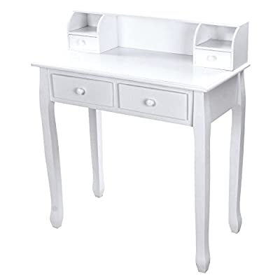 Songmics white 4 drawers Dressing Table Set for chic makeup vanity bedroom dresser writing table RDT80W