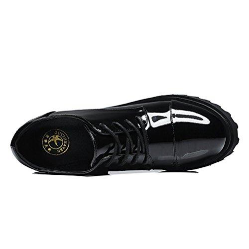 Damen Lässige Flach Runde Zehen Dicke Sohle Aufzug Plateau Schnürsenkel Glattleder Blockabsatz Sneakers Schwarz