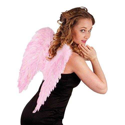 (PARTY DISCOUNT NEU Flügel Engel mit Federn ca. 50 x 50 cm, Rosa)