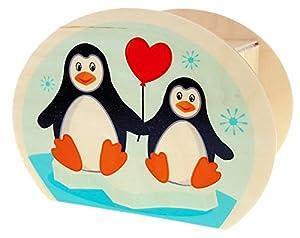 Hess Holzspielzeug 15214 - Hucha de Madera con Llave, diseño de pingüino, Regalo de cumpleaños para niños, Aprox. 11,5 x 8,5 x 6,5 cm