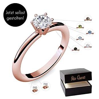 Verlobungsring Roségold 585 750 PERSONALISIERT + ETUI mit individueller GRAVUR Damen-Ring Heiratsantrag Solitär-Ring Zirkonia Aquamarin Turmalin Blautopas Peridot Rauchquarz