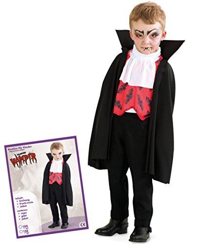 Bella Edward Und Kostüm - Halloween Kinder Vampir Dracula 3tlg Cape inkl Frackweste + Jabot PB 1594 Cape Überwurf Gr 104