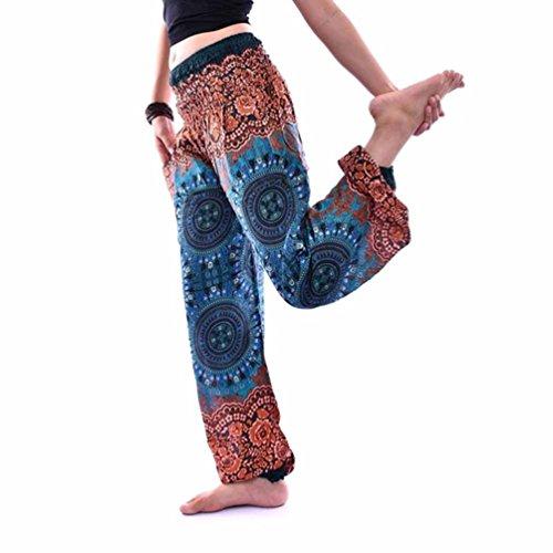 Yoga Strumpfhosen,Resplend Männer Und Frauen Lässige Sommer Lose Yoga Hosen Kompass Drucken Lose Hohe Taille Laterne Yogahosen Strampelhöschen Baggy Boho Overall Haremshose (Grün) (Laterne Boho)