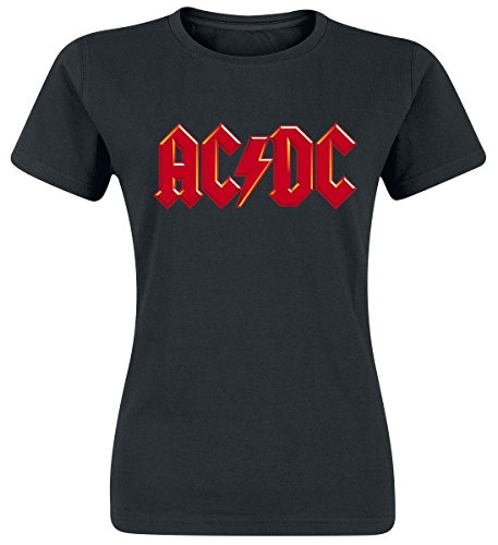 AC/DC Red Logo Camiseta Mujer Negro S