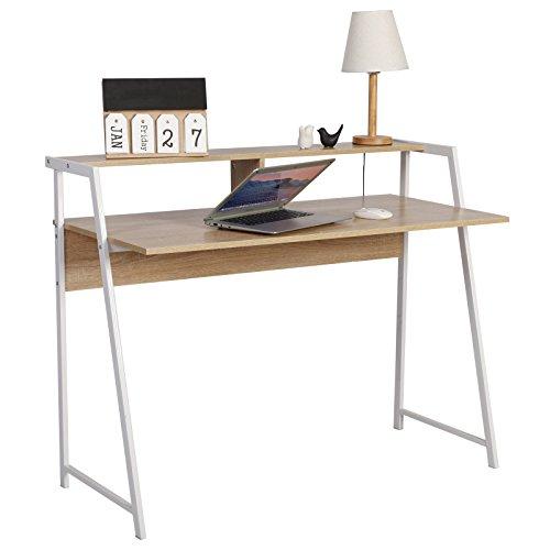 WOLTU Schreibtisch TSG20hei Computertisch Bürotisch Arbeitstisch PC Laptop Tisch, mit Ablage, Gestell aus Stahl, 112x56x90cm(BxTxH), Holz, Eiche