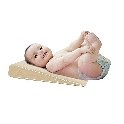 Orthopädisches Kopfkissen für Babybett, 0-36 Monate, abnehmbarer Bezug für Kinderbett (mit zwei Kissenbezügen) zur Vorbeugung und Pflege des Kopfes aus Memory-Schaum