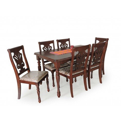 Kimmu 6 Seater Wooden Top Dining Sets Cappuccino By The Bean Store