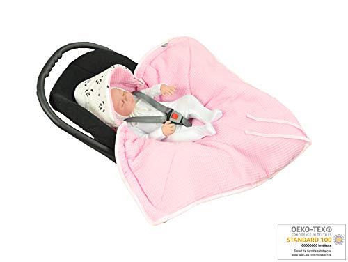 MoMika NEU - Einschlagdecke, Universal für Babyschale, Autositz, für Kinderwagen, Buggy oder Babybett, aus Waffelpique (Pink)