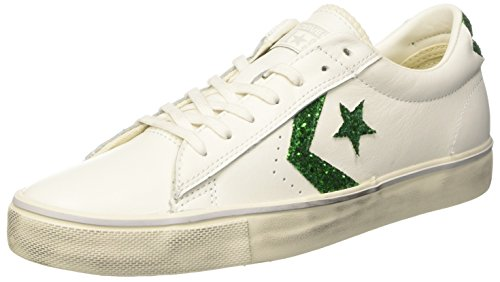 Converse Pro Leather Vulc Distressed Ox, Sneaker a Collo Basso Donna Bianco (Star White/Emerald/Turtledove)