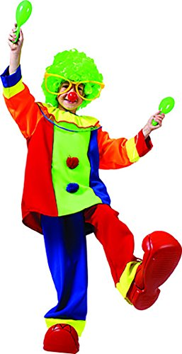 (Halloweenia - Clown Kostüm mit vielen Farben für Kinder, 140-146, 10-11 Jahre, Mehrfarbig)