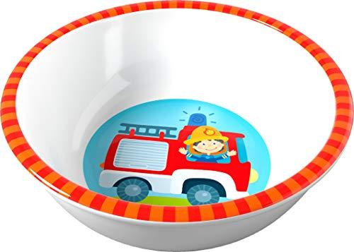 HABA 303693 - Schüssel Feuerwehr, rutschfeste Kinderschüssel aus Melamin mit Feuerwehr-Motiv, spülmaschinengeeignet