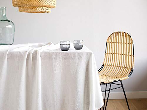 Delamaison Nappe de Table en Lin lavé Blanc cassé 146x200 James