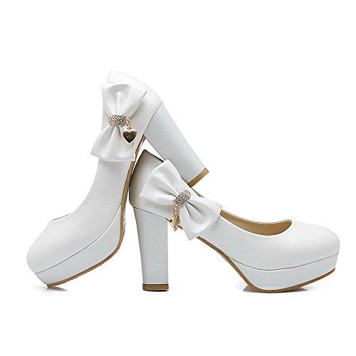 AgooLar Damen Pu Leder Rein Ziehen Auf Rund Zehe Hoher Absatz Pumps Schuhe Weiß