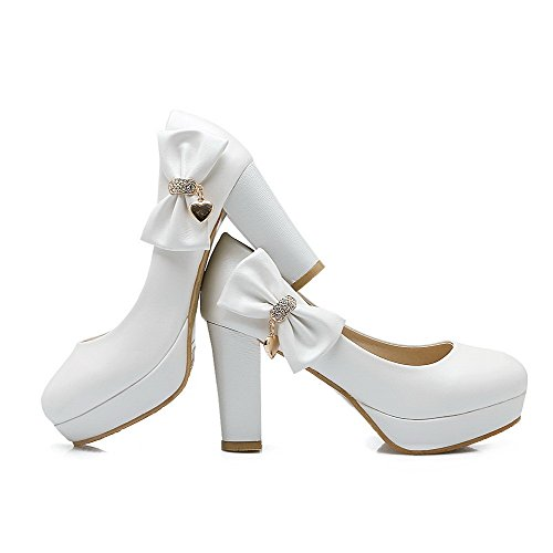 AgooLar Femme Tire Pu Cuir Rond à Talon Haut Couleur Unie Chaussures Légeres Blanc