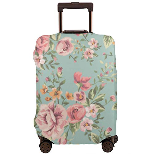Travel Suitcase Protector,Classic Wallpaper Seamless Vintage Flower Pattern On Green Background,Suitcase Cover Washable Luggage Cover L -