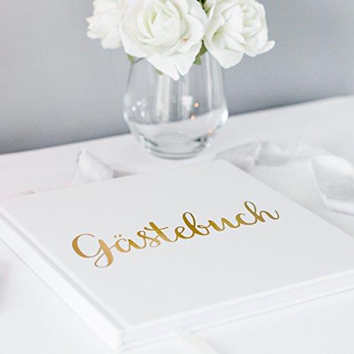 Your Perfect Day Hochzeit Gästebuch Weißbuch mit Elfenbeinband Goldfolie Stanzen und Hochformat 180GSM Papier 32 Seiten 64 Seiten Quadrat - Außergewöhnliche Qualität