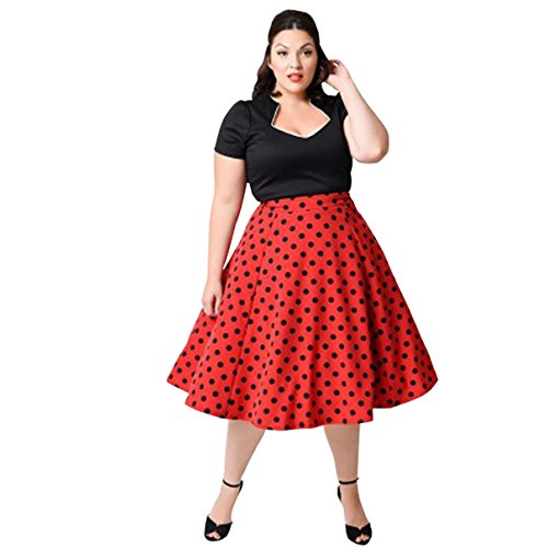 ro Audrey Hepburn Schwingen Pinup Polka Dots Rockabilly Damen Vintage-Kleid Plus Size (Plus Size Club Sieht)