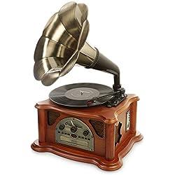 Ricatech RMC350 - Reproductor de medios 5 en 1 (tocadiscos, radio, reproductor CD/MP3, USB, lector de tarjetas SD), diseño de gramola retro, color marrón