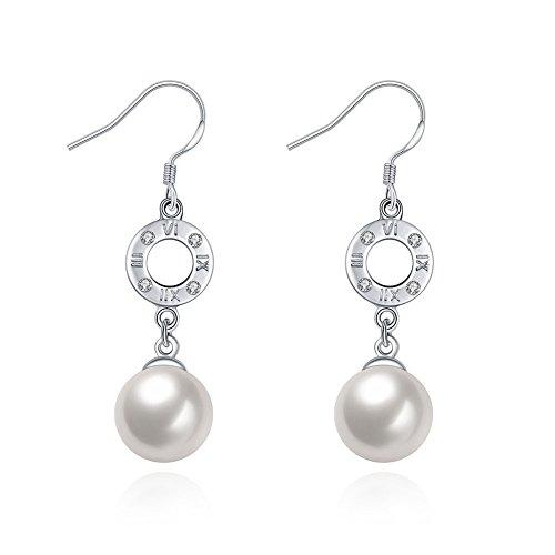 ge, mit Perle, Sterling-Silber 925, AAA Cubic Zirkon-Ohrstecker, 9mm, hängend, für Mutter, Frau, Tochter ()
