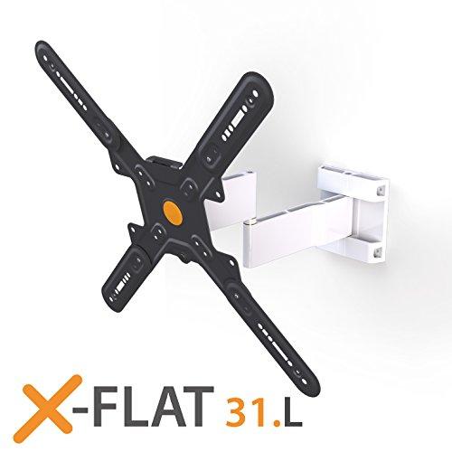 Exelium X-Flat 31L Wandhalterung für Fernseher von 81cm (32 Zoll) bis 165cm (65 Zoll), drehbar (+/- 5°), schwenkbar (+/-100°), neigbar (10°-/-15°), Traglast: max. 35kg, Wandabstand 35-390mm, VESA 75x75 bis 400x400, alumimium