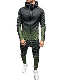 cc63373d Nansiche Men Sport Muscle Set Sportswear Zip Hoodie Sweater Gym Tracksuit  Athletic Casual Apparel