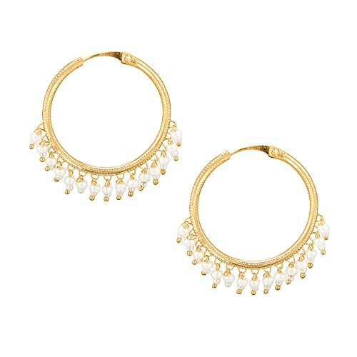 Shining Jewel Gold Brass Hoop Earrings For Women