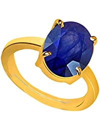 Certified Blue Sapphire (Neelam) 3.25 Ratti Natural Stone Oval Shape Gold Plated Metal Ring (Size - 15 Adjustable...