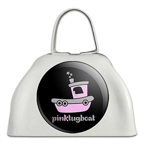 Pink Schlepper (Schiffstyp) Tug Boat Logo weiß Metall Cowbell Kuhglocke Instrument (Griff Schlepper)