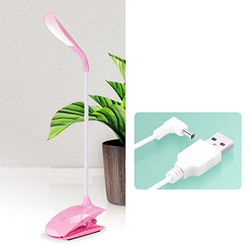 Light Pink Clip (Rechargeable LED desk lamp, eye shield, mini portable folding dormitory lamp,Pink+white light+clip)