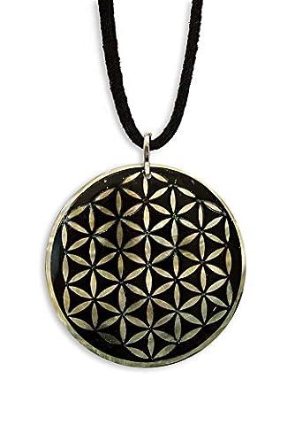 Schmuck Anhänger Amulett Blume des Lebens Ø 40mm aus Muschelmaterial, perlmutt schwarz, inkl. Wildlederband 70 cm