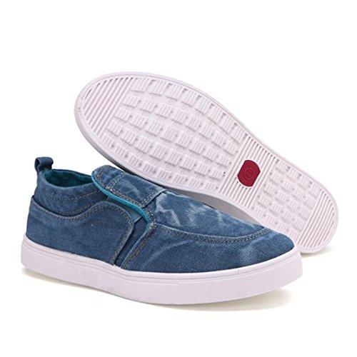 Mann-Art Niedrig Oberseite Turnschuh beiläufige Loafer Ebene Segeltuch Schuhe Bootsschuhe Espadrilles Sneaker Hellblau