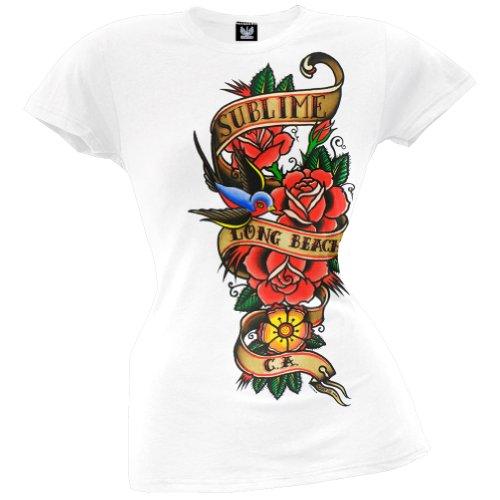 Sublime - Womens Bird & Banner Juniors T-shirt Small White (Juniors T-shirt Sublime)