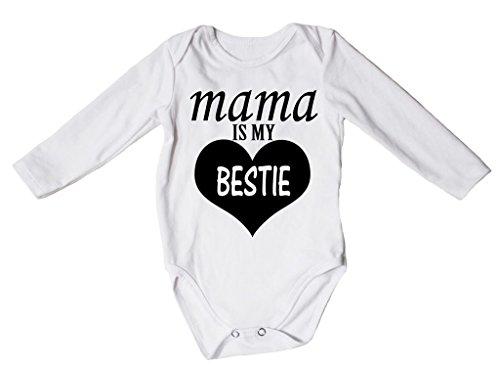 Petitebella Mama Is My Bestie White L/s Bodysuit Romper Nb-18m (3-6 Months)