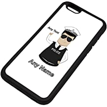 Personalised Gift - Traffic Officer Police Constable / Sergeant / (Chief) Inspector iPhone 6 / 6s Case (Police Design Theme, Colour Options) - Any Name / Message on Your Unique - PC SGT INSP CID - Dark / Black Hair Policeman Hat Cap