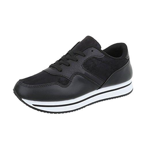 Scarpe da donna Sneaker piatto Sneakers low Ital-Design nero FBK-19