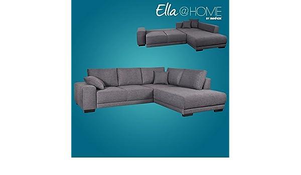 Ella Home Sofa ~ Roller ecksofa dunkelgrau mit liegefunktion recamiere rechts