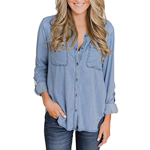 "Feitong Damen T-Shirt Frauen Casual Soft Denim Shirt Tops Blue Jean Button Lange Ã""rmel Bluse Jacke(EU-36/CN-M, Blau)"