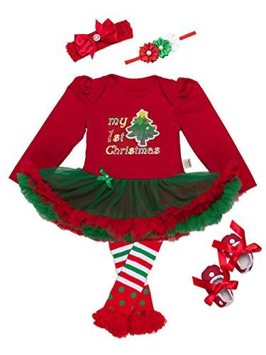 4d80c7c38 URBEAR Bebés Niñas Tutu Vestido Ropa Traje de Navidad 5 Piezas Árbol de  Navidad 3-