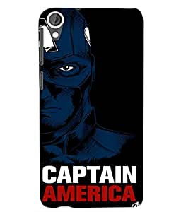 Citydreamz Black and Blue Captain America Hard Polycarbonate Designer Back Case Cover For HTC Desire 828