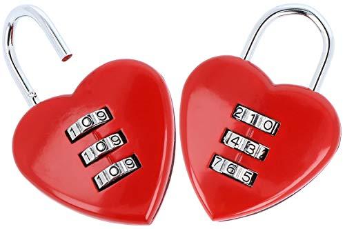Preisvergleich Produktbild com-four® 2 Zahlenschlösser in Herz-Form,  Vorhängeschloss mit je 2 Schlüsseln,  Liebesschloss (02 Stück - Zahlencode)