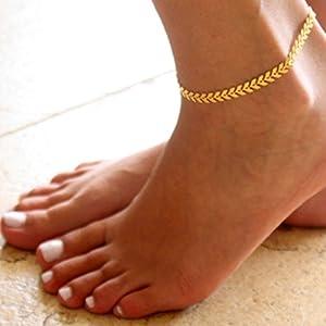 Chicer Fußkettchen mit modischen Blättern, verstellbarer Schmuck für Damen und Mädchen (goldfarben)