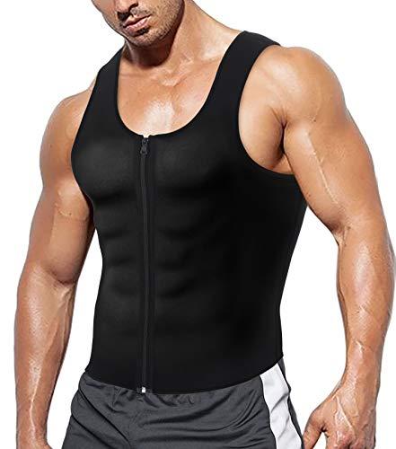 Herren Fitness Shape Shirt Figur formend Training Achselshirts Weste Sauna Schwitzeffekt Tank Top stark formend Gym Bodyshape mit Reißverschluss Neopren breit Träger, 3XL, Schwarz