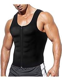 Herren Fitness Shape Shirt figurformend Shapewear Training Achselshirts Weste Sauna- & Schwitzeffekt Tank Top stark formend Gym Bodyshape mit Reißverschluss Neopren Jungen breit Träger Sportbekleidung