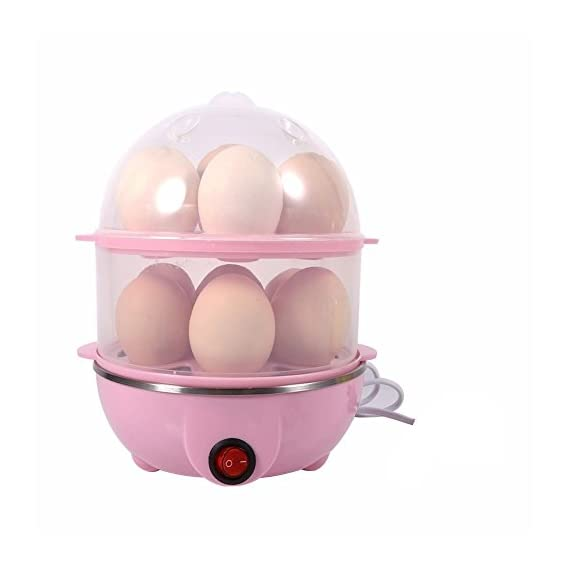 Egab PP and Stainless Steel Electric 14 Egg Boiler with Poacher and Steamer Cooker (double egg boiler, Multicolour)