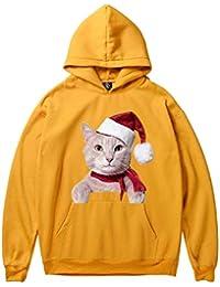 JiaMeng Sudadera con Capucha de Manga Larga con Estampado de Gatos de Navidad Blusa de Las Sudaderas con Capucha