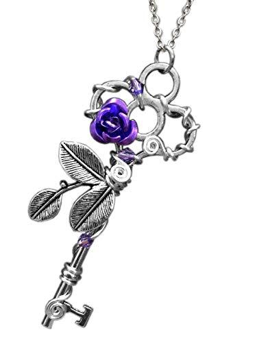 Katharina Fairytale Damen Mädchen Kette Schlüssel zum Feenreich Rosalie Glücksbringer Amulett Talisman 017 Rose lila